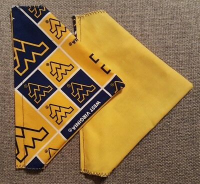 West Virginia University Mountaineers Homemade 2 Sided Dog Scarf (Pick Size)