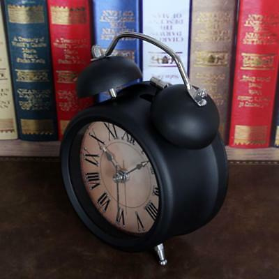 NEW Quartz Analog Retro Metal Twin Bell Alarm Clock With Nightlight Black B