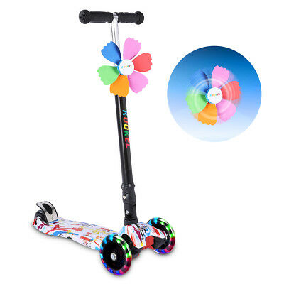 Folding Children Kid Scooter Kick Push Scooter Flashing 4 Wheel Kickboard T Bar