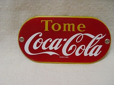 """7"""" Long Porcelain TOME COCA-COLA Drink Coke Advertising Pill Shaped Soda Sign"""