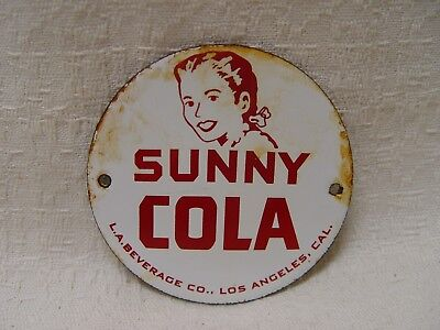 "Sunny Cola Soda L.A. Los Angeles Beverage Co. 3"" Porcelain Advertising Sign"