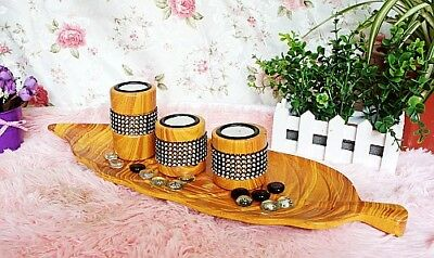 Chinese Wooden Hand Made Candle Flowerpot 2 set 131815