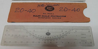 Frederick Post 1526-A 10 Scale, and ONE 1526-B 20 Scale Protractor Rulers