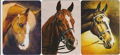 Swap/Playing Cards ~ BEAUTIFUL HORSE HEADS ~ Modern Wides x 3