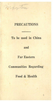 USS Canopus AS-9 Precautions To Be Used In China & Far East Communities c1939