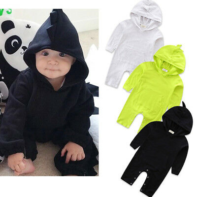 AU Stock Newborn Kids Baby Boys Girls Romper Hooded Jumpsuit Clothes Outfits