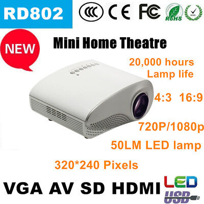 3D Full HD 1080P Mini Projector LED Multimedia Home Theater USB VGA HDMI LOT AU