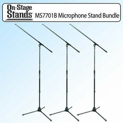 On Stage MS7701B Euro Boom Microphone Stand Black Kit Of 3. Shipping is Free