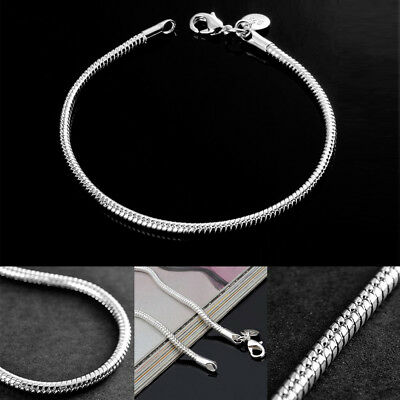 """925 Sterling Silver Snake Bracelet Chain Rope 3mm Ladies Charms Jewelry Gift 8"""""""