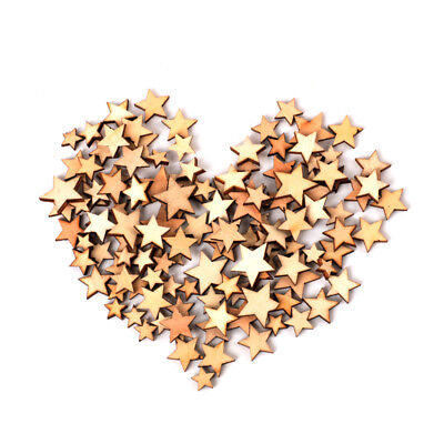 100 pcs Star Christmas Wooden Pendants Ornaments Xmas Tree Party Decoration