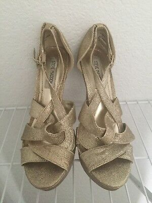 9d163c9e683 WOMENS STEVE MADDEN heels sparkly champagne gold strappy size 8 ...