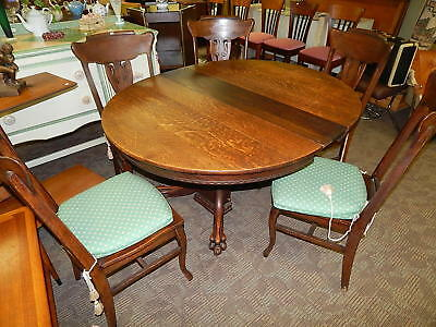 Antique Early American Round Oak Claw Foot Table w 5 Chairs Sikes co New York