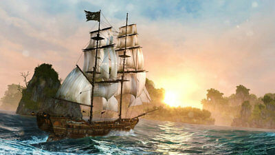 Home Art Wall Decor Artwork Pirates Ship Boat Oil Painting Printed On Canvas p29