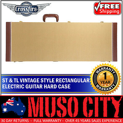 New Crossfire ST & TL Tweed Vintage Style Rectangular Electric Guitar Hard Case