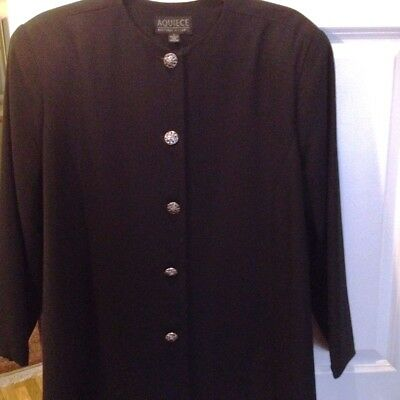 "Maternity Blazer Suit Jacket Black Crew neck Sze L Fits up to waist 55"" Stunning"