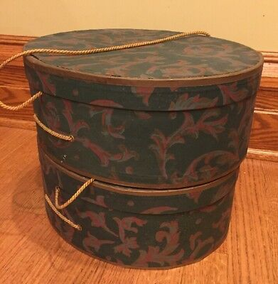 Pair of Women's Oval Green Paisley Hat Box with rope handles