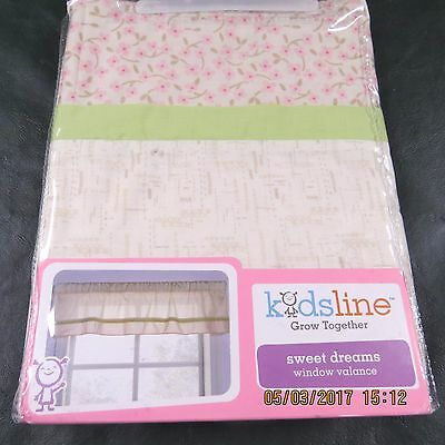 Kids Line Sweet Dreams Window Valance NEW NWT Baby Girl Floral Pink Green