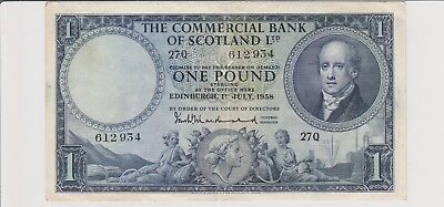 1958 £1 One Pound The Commercial Bank Of Scotland  Edinburgh  Note Circulated