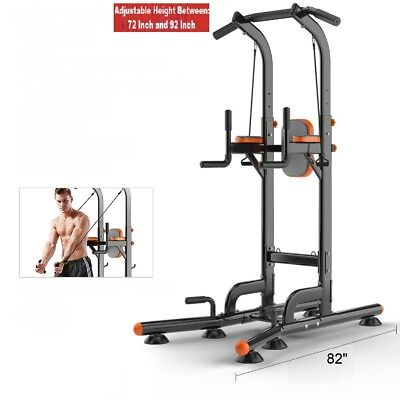 Pull Up Chin Up Station Power Tower Sturdy Chin-Up Bar Stand Dip Station