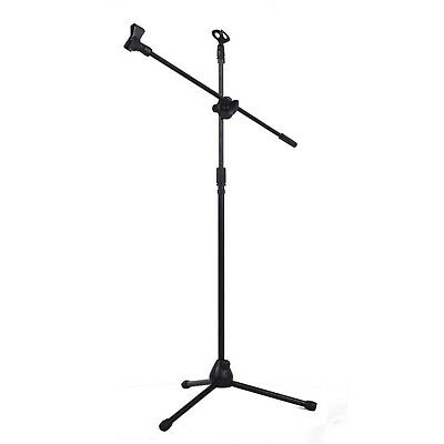 Adjustable Microphone Mic Holder Stand Stage Karaoke Telescopic Stand 2 Clip