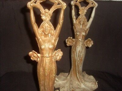 Pair Of Art Nouveau Spelter Lady Figurine Stands