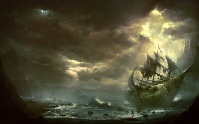 Home Art Wall Decor Artwork Pirates Ship Boat Oil Painting Printed On Canvas P07