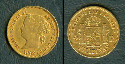 2 Pesos 1862 ISABEL II SPANISH PHILIPPINES GOLD COIN - Spain