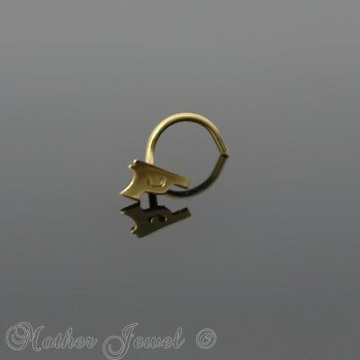 Yellow Gold Surgical Steel Gun Pistol Nose Screw Curl Twist Stud 20G Ring