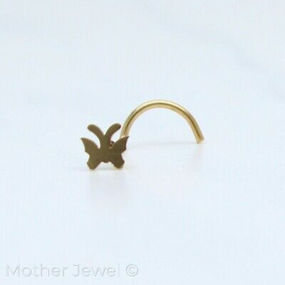Yellow Gold Surgical Steel 4.5Mm Butterfly Nose Screw Curl Twist Stud 20G Ring