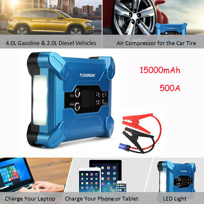 500A 15000mAh Voiture Booster Jump Starter Batterie 2USB Chargeur Power Banque