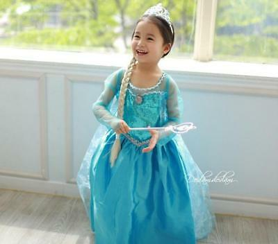 Maedchen-Frozen-Elsa-Anna-Perlen-Tuell-Kleid-Kostuem-Cosplay-Party-Dress-Eiskoen