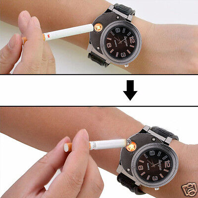Electric Cigarette Cigar Lighter USB Recharging Windproof Lighter Wrist Watch
