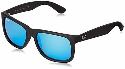 Ray-Ban Sunglasses JUSTIN 4165 622/55 Black Rubber Frame with Blue Mirror Lens