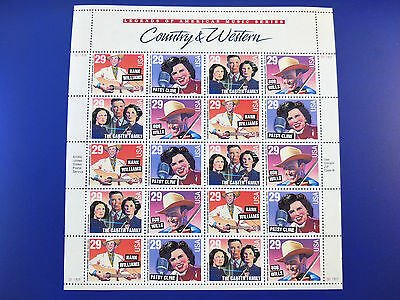 US 29c Country & Western Stamp Sheet Mint Never Hinged