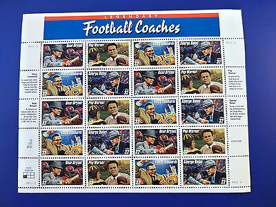 US 32c Football Coaches Stamp Sheet Mint Never Hinged