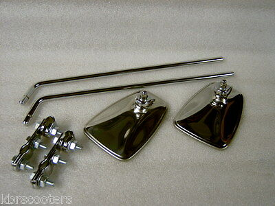 Mod Style 2 Chrome Fluted Back Mirrors Stems And Bracket Kit Gs,px,sx,lambretta