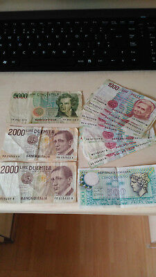 Italian Lire Notes Used Circulated 1 X 5000, 2 X 2000,9 X 1000,1 X 500 = 18,500L