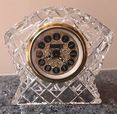 Vintage Wind up Jerger Crystal Cut Glass Clock Made in West Germany