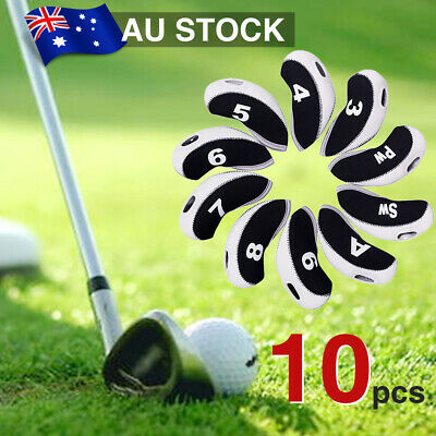 10pcs Golf Club Iron Head Covers Headcovers Putter Protector Case Sock Set AU
