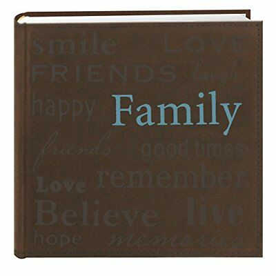 Pioneer Family Text Design Sewn Faux Suede Cover Photo Album, Brown NEW-Free S/H