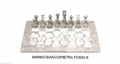 Chessboard with Chess White Marble & Stone Fossil Marble Chess Set 20x20cm