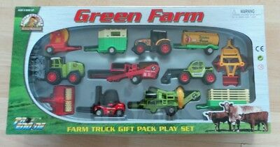 New Green Farm 12 Piece Diecast & Plastic Tractor And Farm Vehicles Toy Play Set