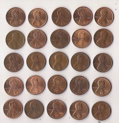 EEUU (USA). Lote de 25 monedas de 1 cent fechas diferentes. Lot of old coins