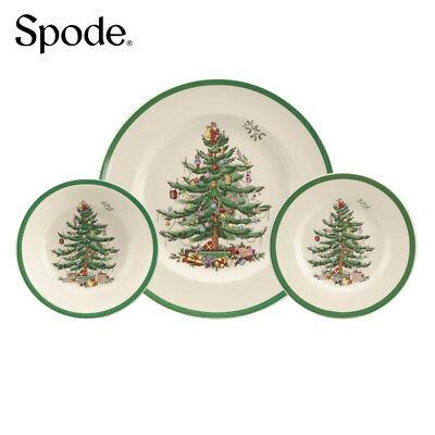 Spode Festive Traditional Christmas Tree 12 Piece Dinner Serving Set