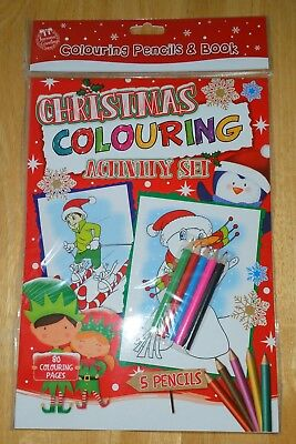 80 Page  Christmas Premium Colouring Book With 5 Coloured Pencils