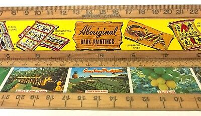 Pair Vintage Wooden School Rulers Big Pineapple Nambour Qld + Aboriginal Art Vgc