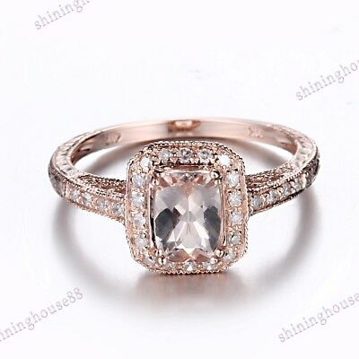 Cushion Morganite Natural SI Diamond Antique Engagement Ring Real 10k Rose Gold