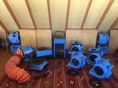 Carpet Blower, Dehumidifiers, Air Scrubbers.