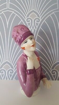 Superb Art Deco Style 1920's Flapper Lady With Cloche Hat Pin Cushion Half Doll