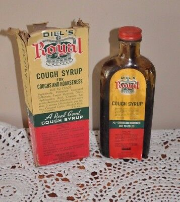 Rare 8oz. DILL'S ROYAL COUGH SYRUP Contents and Box Norristown Pa quack medicine
